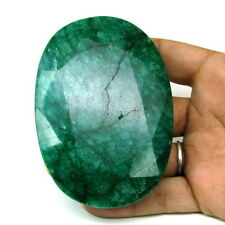 Rare Huge 1058Ct Natural Brazilian Green Emerald Oval Shape Faceted Gemstone