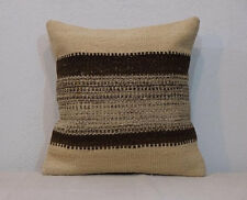 Organic Wool Cream Pillow Cover With Natural Brown Striped Cushion 16'' x 16''
