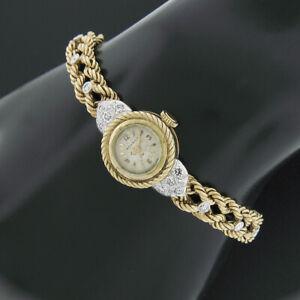Ladies' Movado 14k Gold 15.9mm Mechanical 17j Wrist Watch Diamond & 18k Bracelet