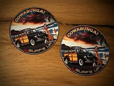 2x Surfeur Autocollant Sticker Surf Board WAVE Woody USA Vintage v8 Old School #102