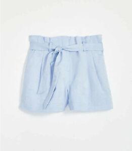 NEW Loft Blue Linen Blend Tie Waist Shorts Size 12