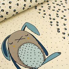 Bio Jersey  Clyde - Stoffonkel - Hase Blumen Punkte Pünktchen blau beige schwarz