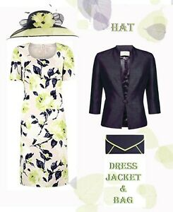 BNWT 16 Jacques Vert Jacket 18 Dress Bag Hat Lime Green Navy Mother of Bride