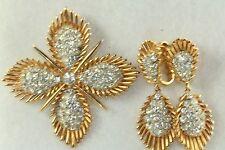 VINTAGE 1950'S CROWN TRIFARI PIN EARRINGS SET DANGLING DEMI PARURE