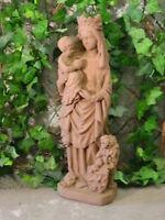 Skulptur Figur Madonna Maria mit Löwe Sandstein Antik Look Steinguß V 09 ROT
