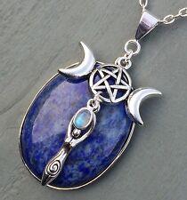 Lapislázuli Arco Iris Luna Triple Diosa Pentagrama Colgante Wicca Pagano