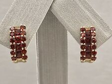 Genuine Pyrope Garnet & Solid 14kt Yellow Gold Half-Hoop Earrings, New