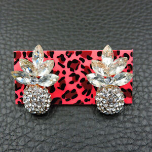 New Betsey Johnson rare Alloy Rhinestone Enamel Pineapple Stud Earrings Jewelry
