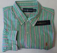 NWT $98 Polo Ralph Lauren Long Sleeve Shirt Mens Green Stripe Cotton  NEW