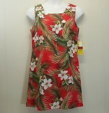 Shannon Marie Dress XXL Red Floral Hawaiian Sleeveless Square Neck