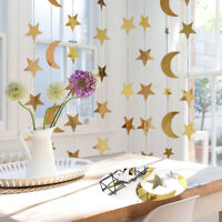 Stars and Moon Reflective Pull Flag Birthday Wedding Party  Party Decoration HOT