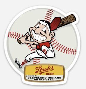 Cleveland Indians Presented By Stroh's Beer Custom Diecut Magnet Vintage Wahoo