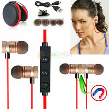 Red -MD57 Magnetic Wireless Bluetooth Handsfree Headset Earphone For Cell Phone