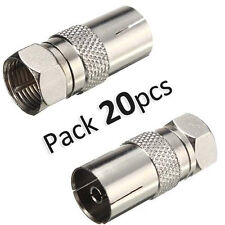 20 Pcs F Type Male Plug to PAL Female Socket TV Antenna Cable Connector Adapter