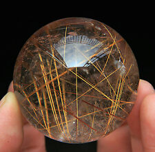 51mm Natural Clear Gold & Copper Hair Rutilated Quartz Crystal Sphere Gem Ball