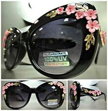 VINTAGE RETRO CAT EYE Style SUN GLASSES Black Frame Unique Floral Flower Design