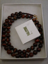 "Lee Sands Tiger Eye Beaded Necklace, 23"" QVC   NEW IN BOX  PAPERWORK"