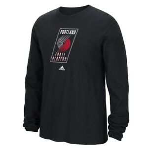 Portland Trail Blazers Adidas NBA Full Primary Logo Long Sleeve T-Shirt - Black