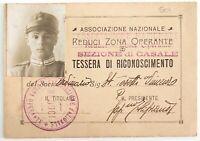 Casale ASSOCIAZIONE REDUCI ZONA OPERANTE Ia Guerra Mondiale tessera anno 1919