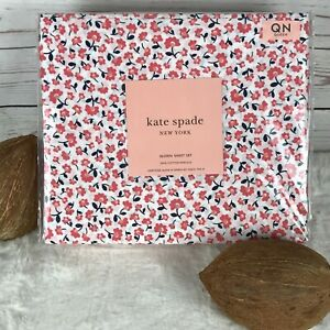 kate spade NEW YORK 100% Cotton Percale Ditsy Floral QUEEN Sheet Set NEW