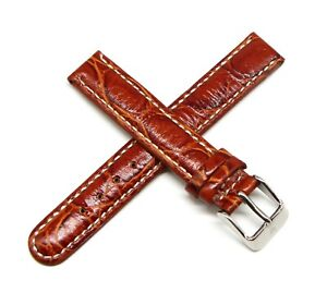 """Lucien Piccard 14MM Crocodile Grain Genuine Leather Watch Strap 6.5"""" RED BROWN"""