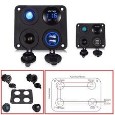 4in1 6-24V LED Voltmeter Dual USB ABS Car Charger Switch Cigarette Lighter+Panel
