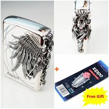 [Zippo] Amazon Nickel Emblem Windproof Lighter Made in USA + 6 Flints for free
