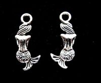 25 Mermaid Charms, Silver Sea Charms, Siren Pendants - Beautiful 21mm