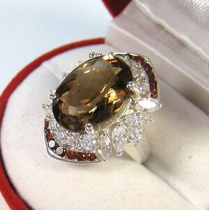 IMPERIAL TOPAZ SAPPHIRE GARNET RING 11.67 CTW sz 6.75 WHITE GOLD over 925 SILVER