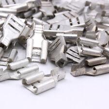 100 Flachsteckhülsen kurz 6,3mm 0,5-1,5 mm² Kabelschuh Steckverbinder blank / E1