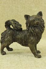 Original Pomeranian Dog Lover Bronze Sculpture Art Decor Statue Figurine Sale