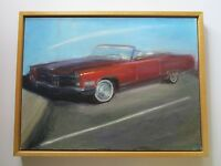 34 INCH FRAMED VINTAGE AUTOMOBILE CAR PAINTING EXPRESSIONIST CONVERTIBLE SUNNY