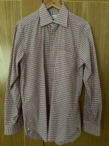 "Ermenegildo Zegna Long Sleeved Shirt - Pink Check - Collar 15½"" - Used"