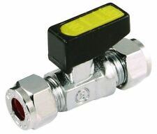 15mm GAS LPG OIL STRAIGHT MINI LEVER BALL ISOLATION VALVE COMPRESSION