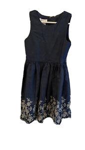 Bonnie Jean Girls Chambray Sundress Navy Blue Eyelet  Lined size 7 EUC
