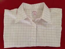 Men's Brooks Brothers White Micro Checked Dress Shirt Sz 16 Non-iron Cotton EUC