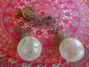 vintage lighting: pair 2 Hanging Swag Lamps w/chain & glass globes, 1960s retro
