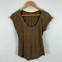 Tigerlily Womens Top Shirt 6 Brown Short Sleeve Scoop Neck Linen Blend