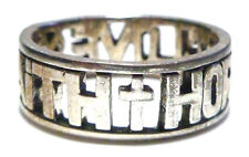 FAITH HOPE LOVE STERLING SILVER VINTAGE CROSS HEART ANCHOR RING BAND SIZE 7.5