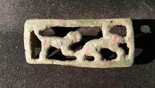 Römische Bronzefibel - Raubtierkampf-Motiv 1.-3. Jhr. - intakt - mit Emaille