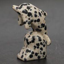 "1.6"" Natural Dalmation Jasper Carved Stone Dolphin Statue Crafts Home Decor"