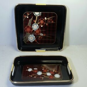 VTG 2/Lot Lacquer Tray Japan Black Red Floral Cheery Blossom Flower Power