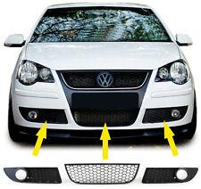 3 GRILLE CENTRAL + LATERAUX LOOK GTI NID D'ABEILLE POUR VW POLO 9N3 DE 04/2
