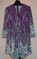 NWT La Cera Purple Pintuck Gypsy Bohemian Full Flowing Top Tunic  Medium