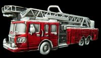 Firefighters Fireman Red Fire Dept. Truck Belt Buckle Boucle de Ceinture Pompier