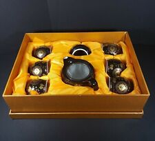 New ListingOriental Tea Pot With 6 Cups Original Box Black Gold