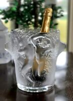 Lalique Ganymede Ice Bucket Champagne Cooler Signed French Crystal Retail $4500
