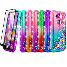 For LG Aristo 5 Case Liquid Glitter Bling Phone Cover + Tempered Glass Protector