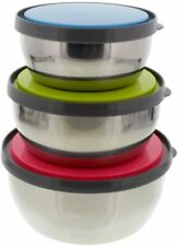 Set of 3 Stainless Steel Food Containers Mixing Bowls Serving Lunch Box w/ Lids