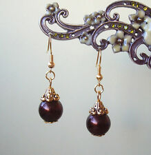 Vintage Styled Brown Glass Pearl Gold Plated Short Drop Earrings